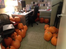 That time i came into work and 50 pumpkins were shoved in my office